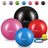 TRESKO® Anti-Burst Gymnastikball 55cm 65cm 75cm 85cm | Sitzball | Yogaball | 300 kg | mit Luftpumpe (Grau, 75cm (geeignet für 175-185cm))