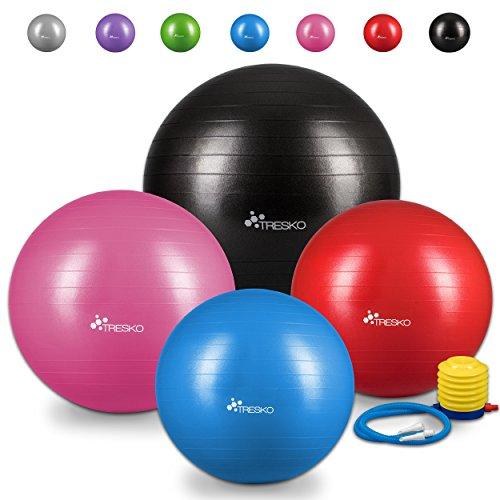 TRESKO® Anti-Burst Gymnastikball 55cm 65cm 75cm 85cm | Sitzball | Yogaball | 300 kg | mit Luftpumpe (Grün, 55cm (geeignet für 155cm oder weniger))