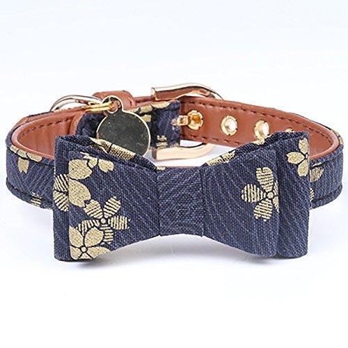 Legendog Cat Collar, Cute Bowtie Floral Cat Collar Buckle Elastic Japanese Kawaii Cat Collar for Boys