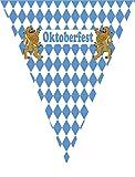 Whity Whiteman - Oktoberfest Dekoration Deko blau weiße Wimpelkette Girlande mit bayrischen Raute und Löwen, 500cm, Flag Garland in Munich Style, ideal für Jede Wiesn Party / Feier, Blau