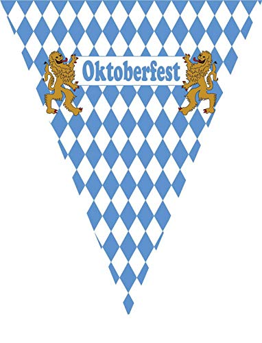 erdbeerparty - Oktoberfest Dekoration Deko blau weiße Wimpelkette Girlande mit bayrischen Raute und Löwen, 500cm, Flag Garland in Munich Style, ideal für Jede Wiesn Party / Feier, Blau (Bier Karton Kostüm)