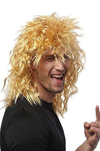 Preisvergleich Produktbild WIG ME UP - 90683-ZA35 Perücke Damen Herren Karneval Fasching Kinks Wilde Locken Zottelig Proll Vokuhila Löwe Löwenmähne Hellblond Goldblond Blond