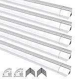 Profilo in Alluminio, Jirvyuk 5 Pack 1m/3.3ft Profilo in Alluminio per Striscia LED + Coperchio Trasparente (Bianco-01)