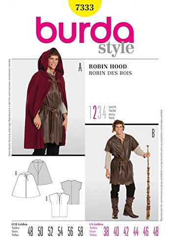 Burda Herren Schnittmuster 7333–Cape, Hirte oder Robin Hood Kostüm Größen: 38–48