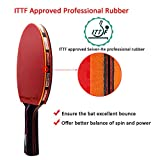 ITTF Approved Table Tennis Bat, Professional Pingpong Racket Paddle with Case, 9-ply Wood and 8-ply Carbon Blade (Logo of Sportout)