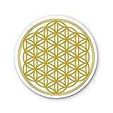 Raduly Barna Set de 4 Dessous de Verre pour Tasses, Table, Bar, Verre. Mandala Fleurs de Vie doré, diamètre 95mm