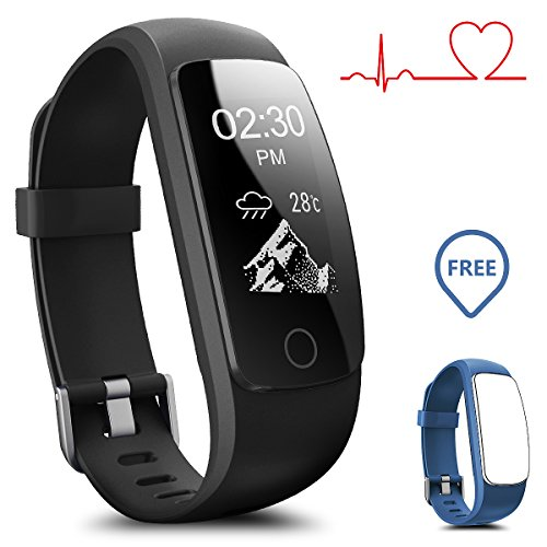 Smart watch impermeabile ip67 activity tracker con cardiofrequenzimetro – fitness tracker 2,4 cm oled bluetooth 4.0 pedometro smartwatch wireless usb di ricarica, braccialetto, con previsioni meteo, uomo, id107plus-black+blue(band)