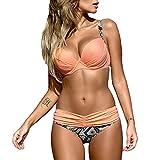 DELEY Frauen Push Up Sommer Strand Süßigkeit Farbe Triangel Brasilianische Bikini Beachwear Bademode Rosa Garnelen M