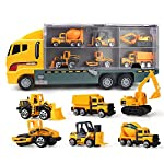 Godyluck 6 In 1 Alloy Die-Cast Construction Truck Vehicle Carrier Truck with a Forklift Bulldozer Road Roller Mixer Truck Dump Truck and Excavator Car Ejection Function Carrying Truck