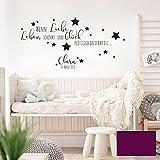 Wandtattoo Baby Geburt Spruch Zitat & Sterne Kinderzimmer Wanddeko Wandgestaltung mit Namen & Datum M2337 - ausgewählte Farbe: *lila* ausgewählte Größe: *L - 49cm hoch x 100cm breit *