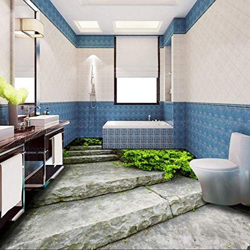 Lxsart Bodenaufkleber Benutzerdefinierte Bad Wc Restaurant Korridor Boden Malerei 3D Stereo Schiefer Leiter Selbstklebende Tapete Wandbild-200cmx140cm