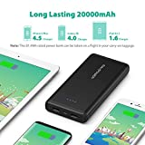 RAVPower Power Pack 20000mAh USB Portable Charger with Dual iSmart 2.0 USB Ports, 3.4A Max Output, 2.4A Input USB Battery Pack for iPhone, iPad, Galaxy, and Android Devices – Black