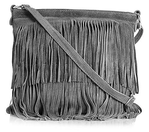 Big Handbag Shop Womens Suede Leather Tassle Fringe Shoulder Bag (Dark Grey)