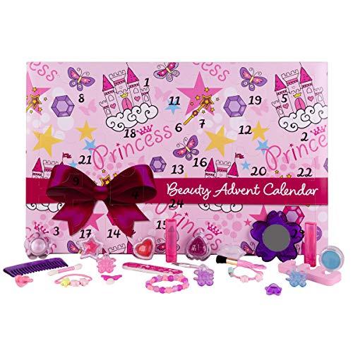 Accentra Mädchen Adventskalender Prinzessin mit Beauty-Kleinigkeiten, 24x Make-up, Schminke & Schmuck, süßes Kinder-Design mit tolle Farben & Glitter