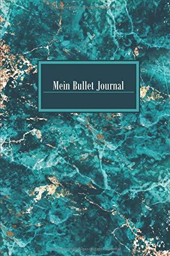 Mein Bullet Journal: Blanko Punktiert Journal A5 Marble Marmor Gold Grün