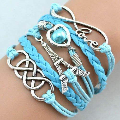 Preisvergleich Produktbild Retro vintage Damen Leder Bronze Herz One Direction LOVE Freundschaft Armband Lederarmband Bracelet mit Charm Anhänger Geschenk Gift (Modell 13)