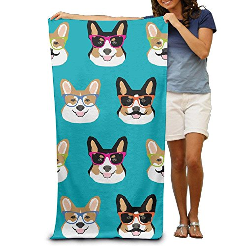 hat pillow Cute Corgi Glasses and Mustaches Adults Cotton Beach Towel 31