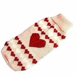 Ularma Chien Vêtements Animal de compagnie Hiver En laine Pull Tricots Chiot Vêtements Chaud Amour Coeur Col haut Manteau