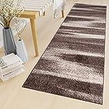 Tapiso Sari Teppich Läufer Meterware Wohnzimmer Schlafzimmer Küche Flur Brücke nach Maß Braun Beige Vintage Verwischt ÖKOTEX 80 x 410 cm