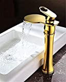 SADASD Moderne Badezimmer Waschbecken Wasserhahn Kupfer Wasserhahn Lift Typ Double Glas Einloch Einzigen Griff Heißes und Kaltes Wasser Keramik Ventileinsatz mit G3/8 Edelstahl Schlauch Tippen