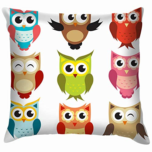 beautiful& Owls Animals Wildlife Owl Holidays Throw Pillow Case Cushion Cover Pillowcase Watercolor for Couch 18X18 Inch