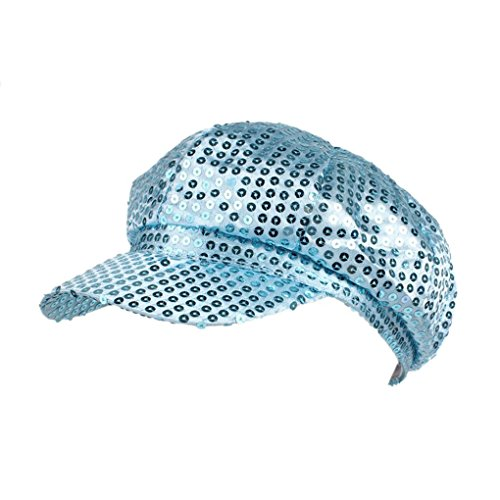 Floridivy Unisex Sequin Octagonal Beret Schirmmütze Funky Kostüm -