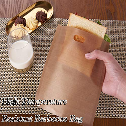 Dinglong Non Stick Toaster Bags, Reusable and Heat Resistant Grilled Cheese Bags, Perfect for Sandwiches Pastries Pizza Slices Chicken Nuggets Fish Vegetables Panini & Garlic Toast (A-16 x 16.5cm)
