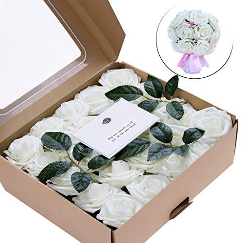 TianWlio Künstliche Blumen Korallenrosen 50 Stücke Echt Aussehende Gefälschte Rosen Für DIY Hochzeit Bouquets Mittelstücke