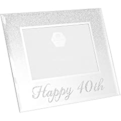 Idea Regalo - Happy 40th Silver glitter Birthday photo Frame Gift