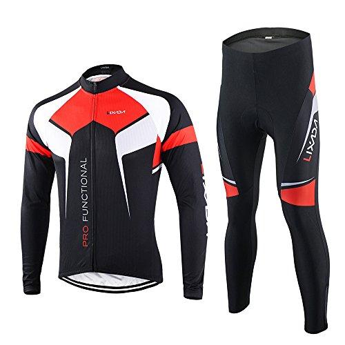 Lixada Frühling/Herbst Männer Radfahren Kleidung Set Fahrrad Anzug Outdoor Langarmtrikot+ Hose Atmungsaktiv Schnell Trocken (Schwarz, L(EU))
