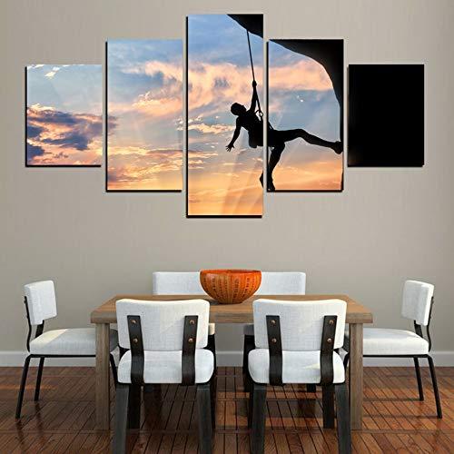 QAZWSY Gedruckt Wandkunst Hd Leinwand Poster Dekoration 5 Panel Sky of Climber Wohnzimmer Modulare Bilder Malerei -