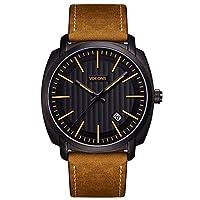 Herren-Armbanduhr - VOEONS - Analog Quarz Braun Leder Casual Herren-Uhren mit elegantem und zeitlosem Design LA6021