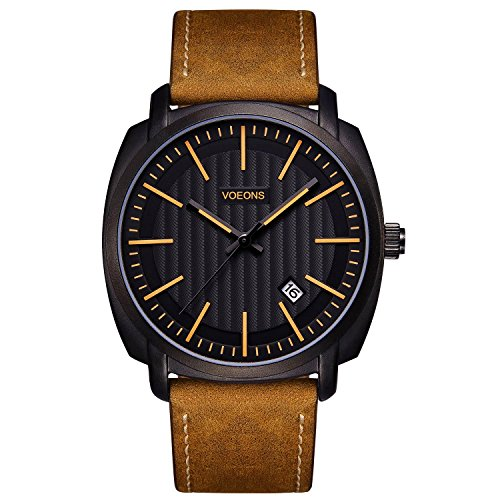 VOEONS Herren-Armbanduhr Datum Analog Quarz Braun|Schwarz Leder Casual Herren-Uhren mit elegantem und zeitlosem Design LA6021