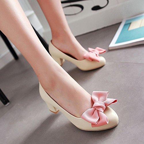 Mee Shoes Damen mit Schleife chunky heels runde Pumps Beige