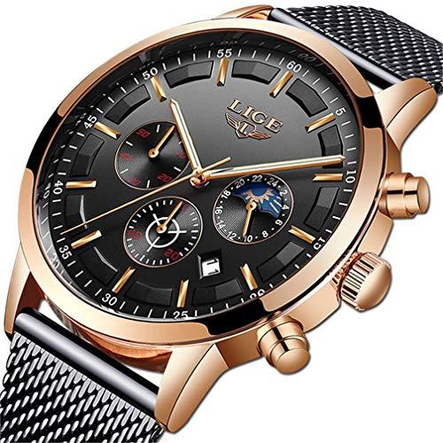 LIGE Mode Herren Uhren Geschäft Wasserdicht Simulierter Quarz Uhr Mondphase Schwarz Edelstahl Mesh-Gürtel Armbanduhren