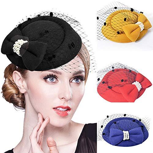 (Eleganter Blumenhut Blumen Feder Stirnband Mesh Tea Party Hochzeit Headwear Braut Kopfschmuck mit Schleier Lila (Color : Yellow, Size : Free Size))