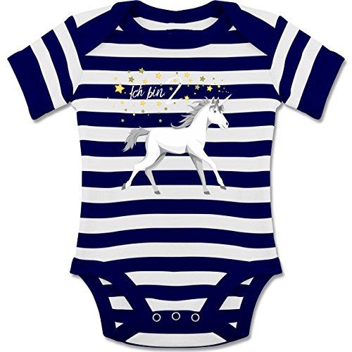 Shirtracer Geburtstag Baby - 2. Geburtstag Einhorn - Gestreifter Kurzarm Baby-Strampler/Body für Jungen und Mädchen