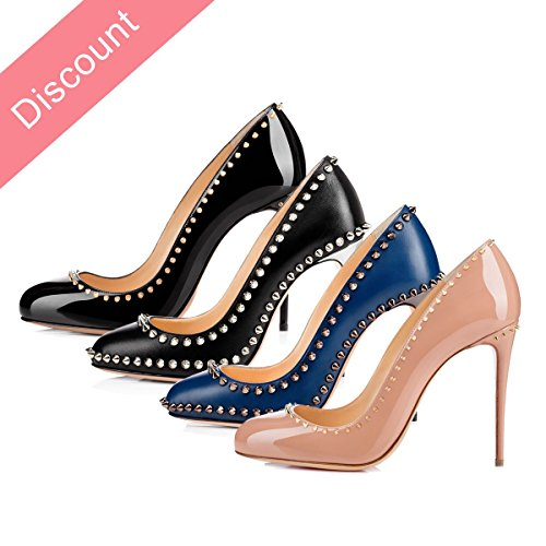 Onlymaker Damen Pumps High Heels Klassisch Stiletto mit Nieten Schuhe matt schwarz