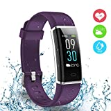 Ausun Fitness Tracker IP68, 130 Plus Color Touchscreen Activity Tracker Smart Wristband con Donna per iOS e Android, Viola
