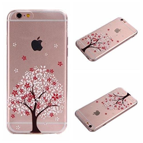 iPhone 6/6S 4,7 Coque, Voguecase TPU avec Absorption de Choc, Etui Silicone Souple Transparent, Légère / Ajustement Parfait Coque Shell Housse Cover pour Apple iPhone 6/6S 4,7 (fleur bleue 06)+ Gratui fleurs de cerisier-A