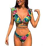 LYworld Donna Bikini 2019 Sexy Costumi da Bagno Costume Bikini Set Push-Up Swimwear Reggiseno Imbottito Tankini Beachwear Due Pezzi Costumi da Bagno (Foglie Verdi, IT 44-46 / Tag Size L)