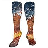 Gped Kniestrümpfe,Socken Football On Fire Compression Socks,Knee High Socks,Funny Socks for Women Men - Best Medical,Sports,Running, Nurses,Maternity,Pregnancy,Travel & Flight Socks