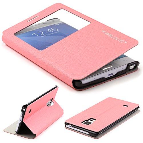 Urcover Original Samsung Galaxy Note Edge Hülle View Case Schutzhülle [Deutscher FACHHANDEL] Handyhülle Schale Case Etui Flip Rosa