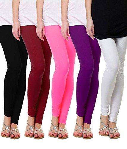 M.G.R Women\'s Cotton Lycra Churidar Leggings Combo (Pack of 5 ) - Free Size