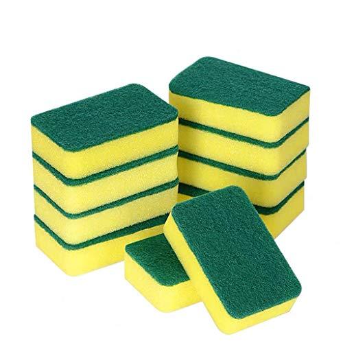 Finebuying 14 Stück Mikrofaserschwämme Küchenreinigungsschwämme Schrubbschwämme Eco Non-Scratch für Geschirrschrubbschwämme (Gelb) (Gesichts-wäscher-schwamm)