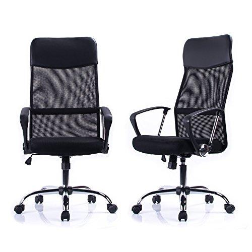 51%2BNMgrJXJL - Poptoy - Silla de escritorio giratoria con respaldo alto con malla y altura ajustable para el hogar y la oficina