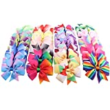 Haarspangen Mädchen Kinder Haarbögen Baby Set Cozywind 40 Stücke Haarschleifen Haarklammern Baby Mädchen Haarspangen Rainbow Ripsband Haarclips