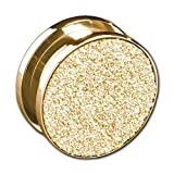 viva-adorno 1 Stück Plug Flesh Tunnel mit Schraubverschluss Edelstahl Glitzer Design Größe 3-12mm Z477, Gold Gr. 12mm