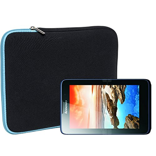 Slabo Tablet Tasche Schutzhülle für Lenovo A7-50 Hülle Etui Case Phablet aus Neopren - TÜRKIS/SCHWARZ