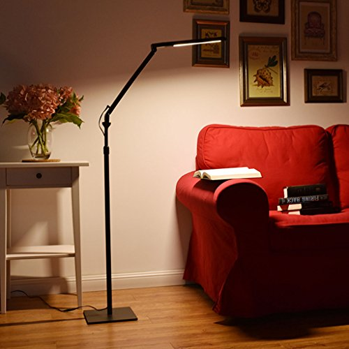 $lampe sur pied Led 8W Eye Protection Floor Lamp, Living Bedroom Bedroom Desk Desk Vertical Graduation Black Piano Lampe (Importé Lg Source de lumière, Light Guide Patent, Protégez vos yeux)